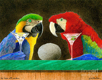 Macaw Painting - Two Birds With One Stone... by Will Bullas