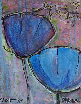 Painting - Two Blue Poppies by Laurie Maves ART