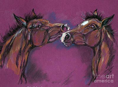 Two Foals Playing Art Print by Angel  Tarantella