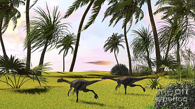 Two Gigantoraptors Running Art Print