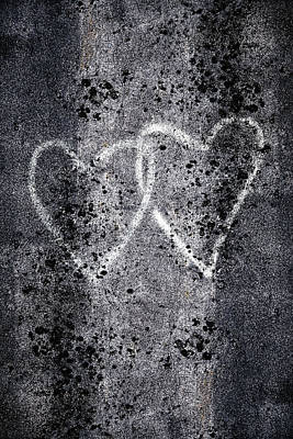 Graffitti Photograph - Two Hearts Graffiti Love by Carol Leigh