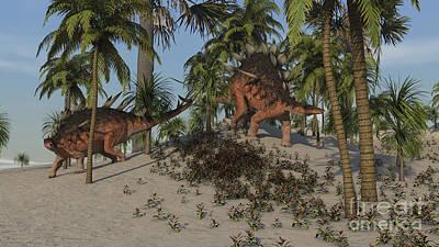 Digital Art - Two Kentrosaurus Dinosaurs Walking by Kostyantyn Ivanyshen