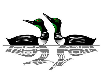 Loon Drawing - Two Loons Reflected by Fred Croydon
