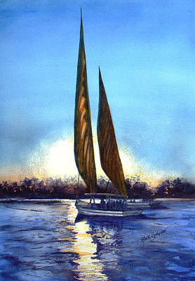 Two Sails At Sunset Art Print by Ruth Bodycott