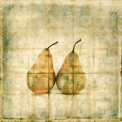 Pear Photograph - Two Yellow Pears On Folded Linen by Carol Leigh