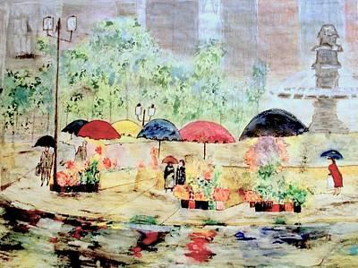 Umbrellas And Flowers   Art Print