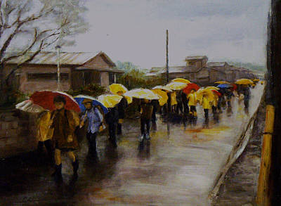 Returning Home From School Painting - Umbrellas - Japan by Chisho Maas