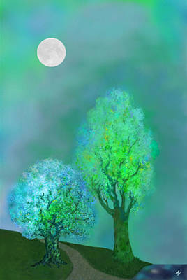 Digital Art - unbordered DREAM TREES AT TWILIGHT by Mathilde Vhargon