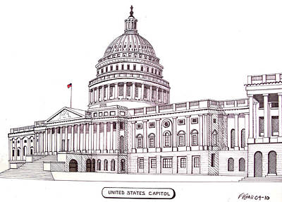 Pen And Ink Historic Buildings Drawings Drawing - United States Capitol by Frederic Kohli
