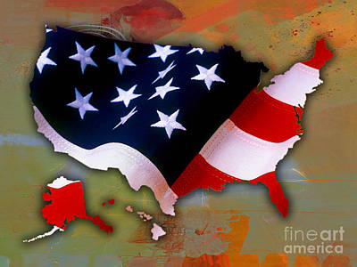 America Mixed Media - United States Map by Marvin Blaine