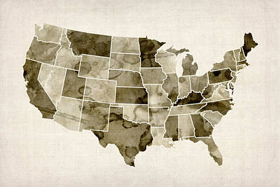 United States Watercolor Map Art Print by Michael Tompsett