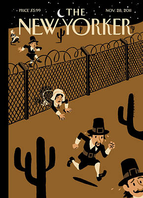 Thanksgiving Painting - New Yorker November 28th, 2011 by Christoph Niemann