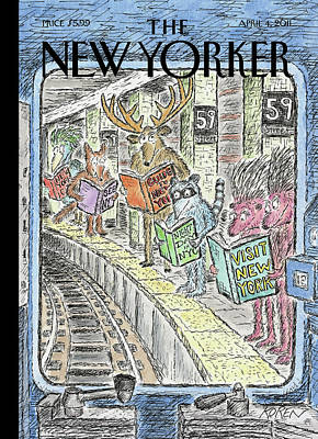 Train Station Painting - New Yorker April 4th, 2011 by Edward Koren