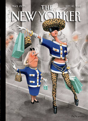 Woman Painting - New Yorker September 10th, 2012 by Ian Falconer