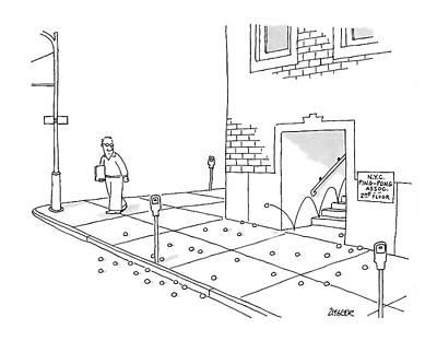 N.y Drawing - N.y.c. Ping Pong Assoc. 2nd Floor by Jack Ziegler