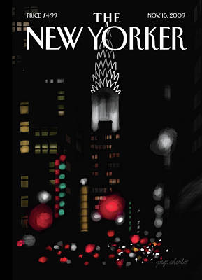 Chrysler Building Painting - Night Lights by Jorge Colombo