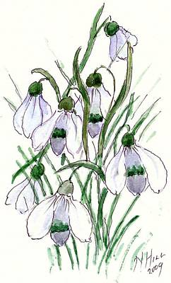 Snowdrops Wall Art - Painting - Snowdrops by Nell Hill