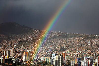 Grey Clouds Photograph - Urban Rainbow La Paz Bolivia by James Brunker