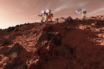 Outer Space Photograph - Us Astronauts On Mars by Detlev Van Ravenswaay