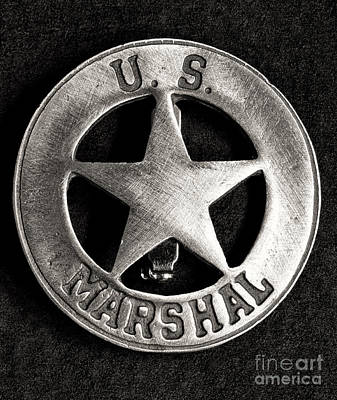 Cowboy Hat Photograph - Us Marshall - Law Enforcement - Badge by Paul Ward