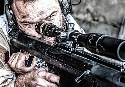 Photograph - U.s. Navy Seal Sniper In Firing by Oleg Zabielin