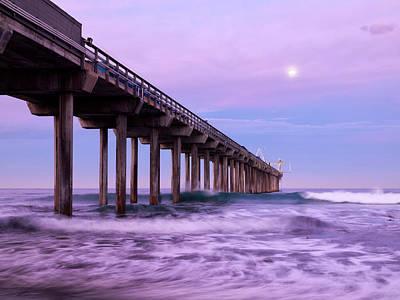 Usa, California, La Jolla, Full Moon Art Print by Ann Collins