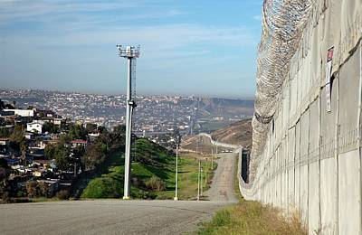 Barbed Wire Fences Photograph - Usa-mexico Border Surveillance by Jim West