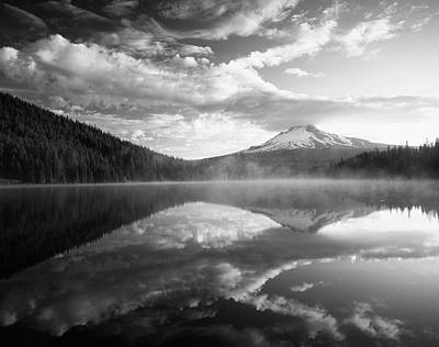 Trees And Lake Photograph - Usa, Oregon, Mount Hood National by Adam Jones