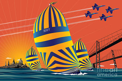 Bay Bridge Digital Art - Usna Sunset Sail by Joe Barsin