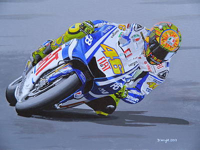 Motorcycle Racing Painting - Valentino Rossi by David Wright