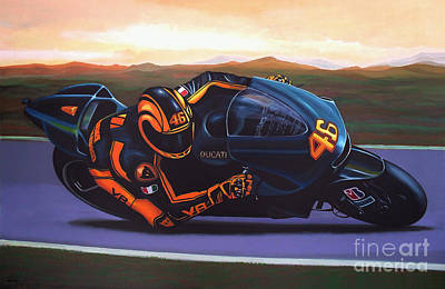 Motorcycle Wall Art - Painting - Valentino Rossi On Ducati by Paul Meijering