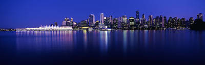 British Columbia Photograph - Vancouver Skyline At Night, British by Panoramic Images
