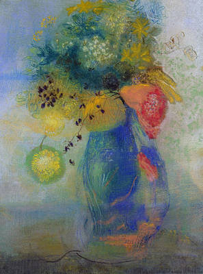 Stalk Painting - Vase Of Flowers by Odilon Redon