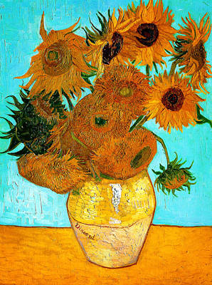 Horizontal Painting - Vase With Twelve Sunflowers  by Celestial Images