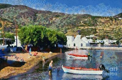 Painting - Vathi Beach In Sifnos Island by George Atsametakis