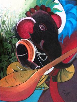 Indian Musical Instrument Painting - Veena Ganesha by Rupa Prakash
