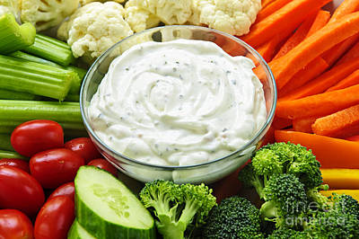 Food And Beverage Royalty-Free and Rights-Managed Images - Vegetables and dip by Elena Elisseeva