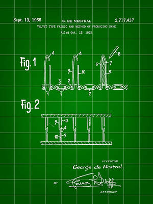 Velcro Patent 1952 - Green Art Print by Stephen Younts