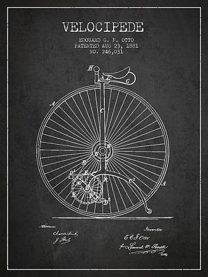 Transportation Digital Art - Velocipede Patent Drawing from 1881 - Dark by Aged Pixel