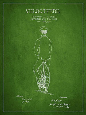 Transportation Digital Art - Velocipede Patent Drawing from 1881 - Green by Aged Pixel
