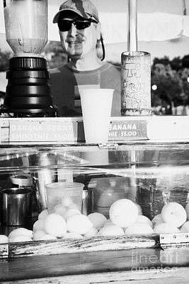 Slushy Photograph - Vendor Selling Fresh Fruit Drinks Slushies At Mallory Square Key West Florida Usa by Joe Fox