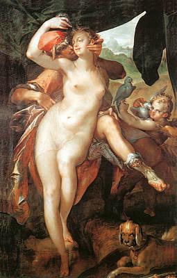 Painting - Venus And Adonis by Bartholomeus Spranger
