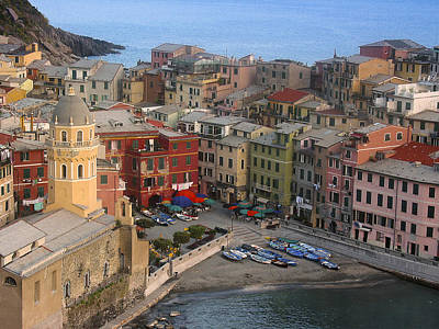 Vernazza From Above Print by Andrew Soundarajan