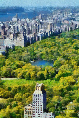 Painting - View Of Central Park And Manhattan From Observation Deck At Rockefeller Center by George Atsametakis