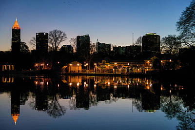 View Of The Midtown Skylines And Lake Art Print by Panoramic Images