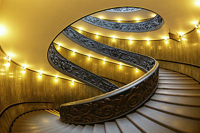 Photograph - View Of The Spiral Staircase At The by Guy Vanderelst