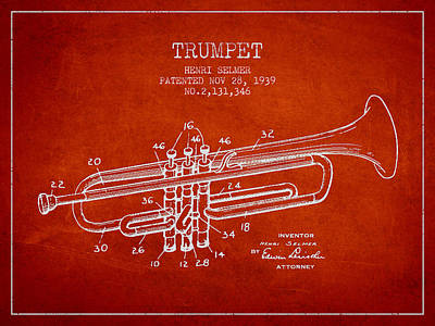 Trumpet Digital Art - Vinatge Trumpet Patent From 1939 by Aged Pixel