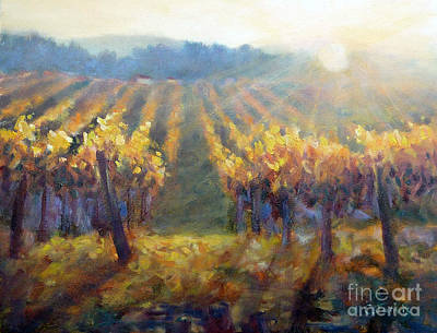 Sunset In Wine Country Painting - Vineyard Sunset by Carolyn Jarvis