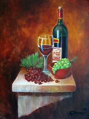 Uva Painting - Vino Tinto by Edgar Torres