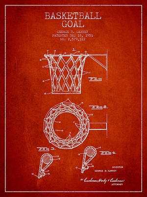 Basketball Hoop Drawing - Vintage Basketball Goal Patent From 1951 by Aged Pixel